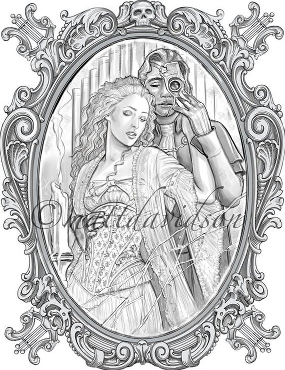 Phantom Of The Opera Adult Colouring Page Victorian Etsy