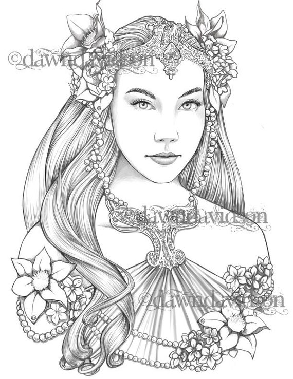 Queen Of The Elves Coloring Page Printable Colouring For Etsy