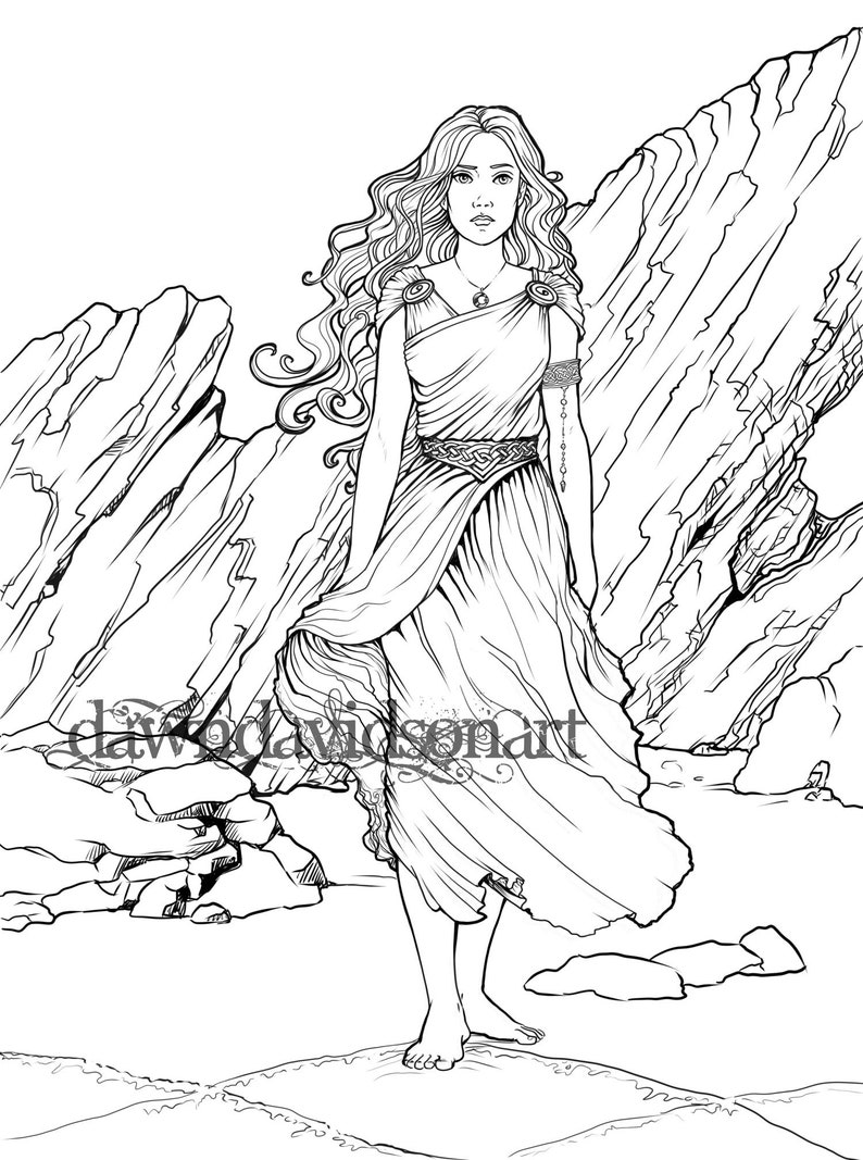 Adult Coloring Page, Fantasy coloring, Celtic coloring page, Celtic  goddess, Line Art, Adult Colouring, Printable Instant Download