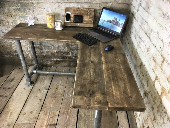 finest selection 4ac64 c1104 Corner Office Desk, Custom Made From Reclaimed Scaffold Boards And Scaffold  Tubes For Rustic, Industrial Look