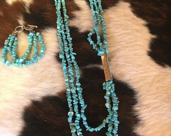 Cowgirl Western Turquoise Necklace & Bracelet Set