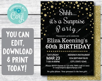 60th birthday invitations etsy surprise 60th birthday invitation black and gold glitter any age digital printable invite 5 x 7 self editable edit yourself now filmwisefo