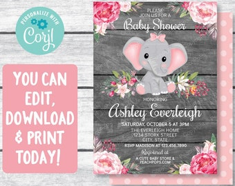 Elephant Baby Shower Invitation Etsy