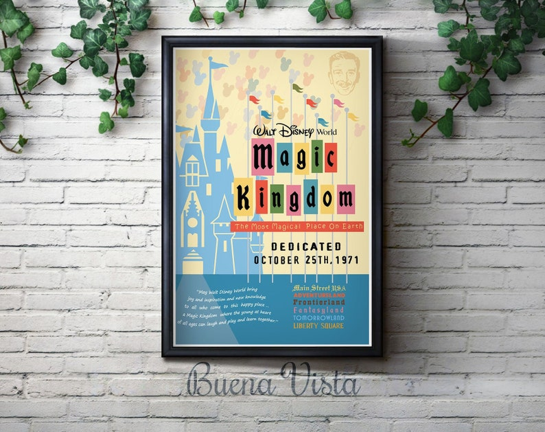 Vintage walt disney world travel print