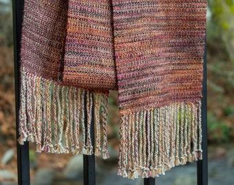 Handwoven Luxury Fiber Scarf Merino wool and Supima Cotton