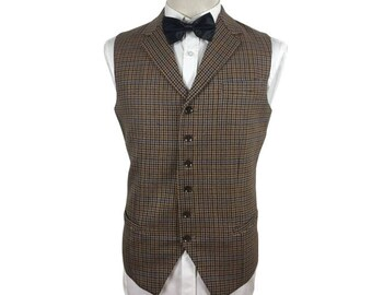 Men's Vest in Brown Check with Notch Lapel