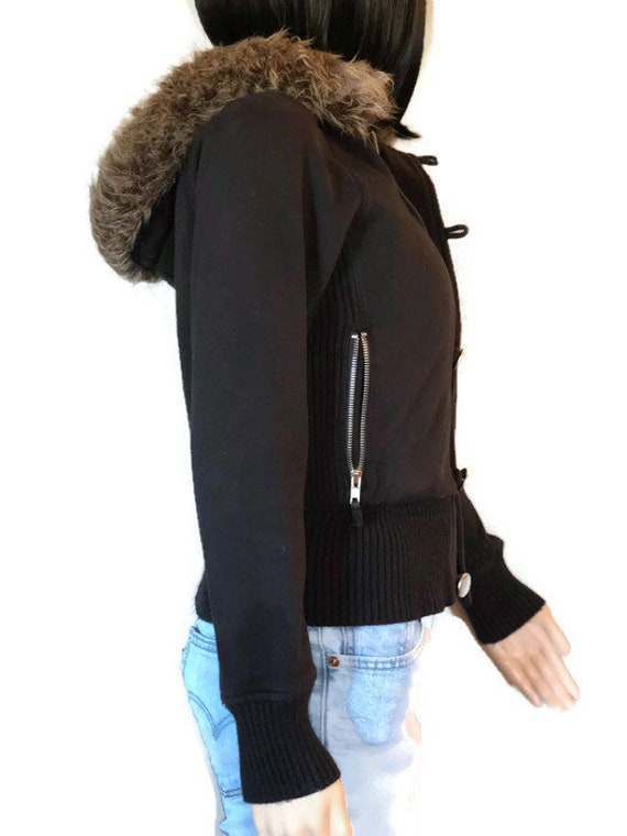 Vintage faux fur lined, Bomber Jacket, 80's style jacket, Ladies size Small, Fur is removable from hood, Button & zip closure jacket
