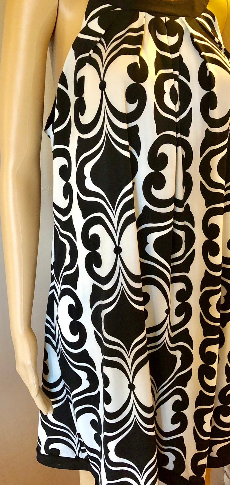 slip over dress Off Ivory and black patterened dress 90/'s B Smart Womans A-line Size Large dress Off the shoulder neck collar