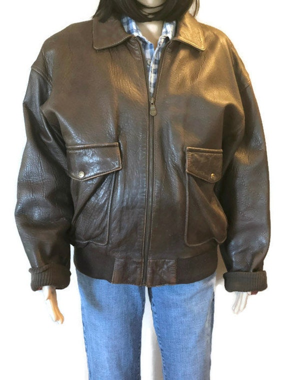 Vintage Mens, Foxrun Leather, Bomber Jacket, Size