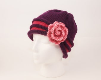 840c7ee0def Ladies Hand Knit Hat with Rose   Girls Beanie   Knitted Hat with Flower