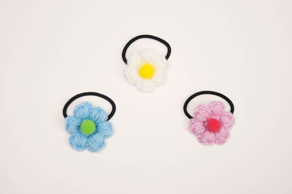 Handmade Crochet Puff Flower Hair Tie   Flower Hair Elastic    ee707c86257