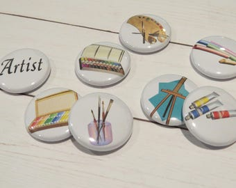 Artist Flair Buttons, Set of 8, 1 inch, Art, Tubes of Paints, Brushes in Jar, Painters Pallet, Scrapbook, Planner, Card Embellishments, F017