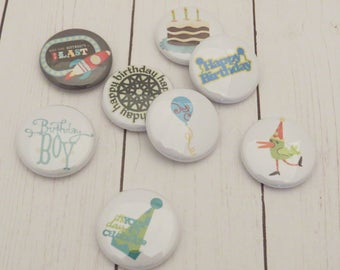 Birthday Flair Buttons, Set of 8, 1 inch, Birthday Boy, birthday Cake, Party Hat, Balloon, Rocket, Scrapbook, Card Making, Planners, F060