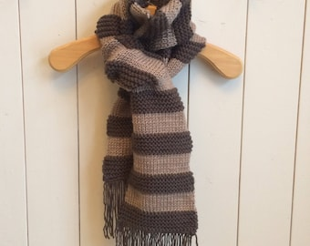 Brown and beige wool scarf