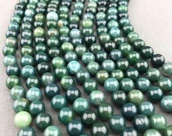 8mm Moss Agate Beads, Full Strand of Genuine Round Green Moss Agate Gemstones