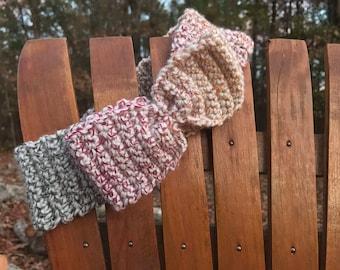 Headband - Crochet - cream.red.green