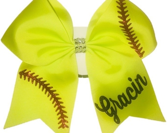 Softball Bow with Name Softball Bows Custom Softball Bows Softball Bow Hair  Bows Personalized Bows 6e5736d8b6a