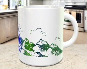 Mountain Mug, Wrap Around Mountain Scene in Blue and Green, 15oz Coffee Mug, Tea Cup