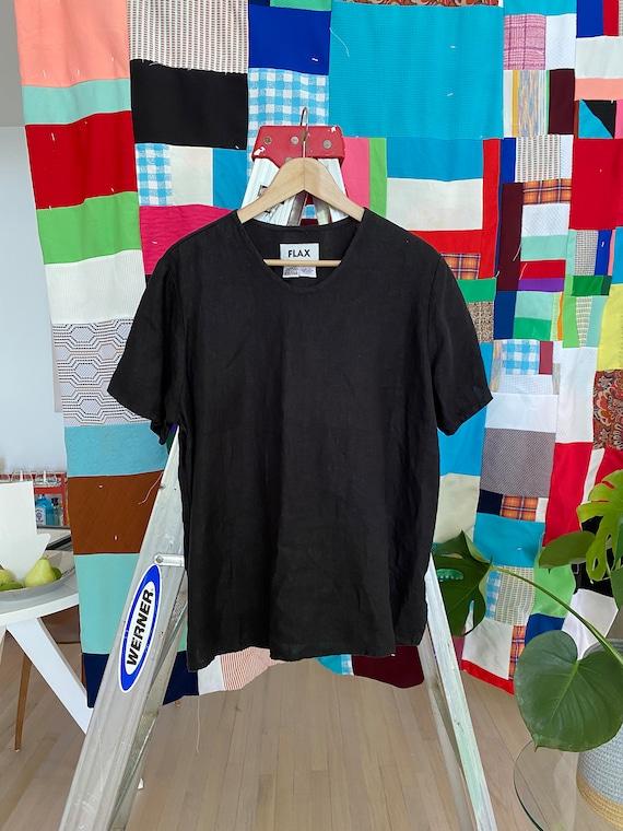 FLAX Engelhart Vintage Black Linen Top size SMALL - image 2