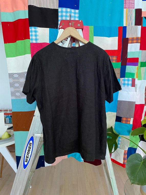 FLAX Engelhart Vintage Black Linen Top size SMALL - image 5
