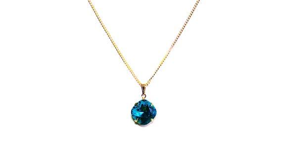 39300a2df Indicolite Swarovski Crystal Necklace Crystal Pendant | Etsy