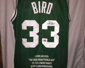 eb12adf649a Larry Bird Autographed Boston Celtics Statistics Jersey - Absolute  Authentics COA