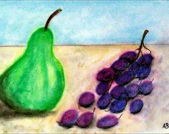 2018#35_Stillleben with pear and grapes, pastel paintings, pear, grapes, modern painting, fruit, pastel painting, pastel painting