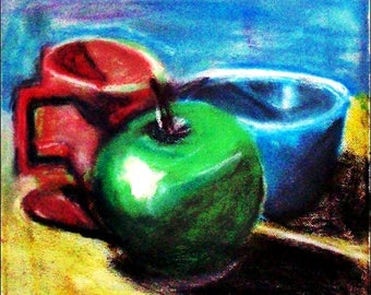 2017 # 56_Stillleben with Apple, Kaffeepott and blue Bowl, green apple, pastel painting, red pot, blue bowl, pastel painting,