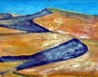 2018 # 11_Wüstenlandschaft, pastel painting, dunes, sand, hill, shadow, pastel painting, pastel picture