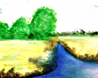 2019-27_Felder and trees by the river, mixed media, pastel crayon, acrylic paint, mixed media, forest, river, landscape painting, landscape painting
