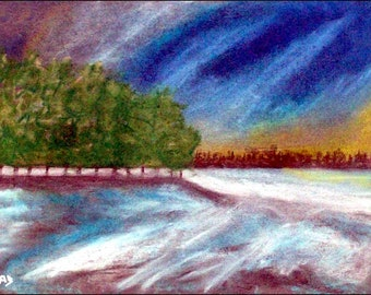 2018 # 14_Bäume am See, pastel painting, sunset, forest, trees, lake, snow, ice, winter, pastel painting, pastel picture