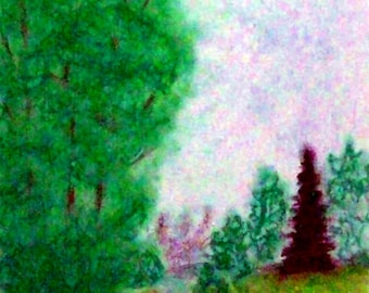 2018#58_Landschaft with trees, landscape, pastel painting, stream, trees, meadow, grass, forest, nature, summer, pastel paintings, pastel crayon