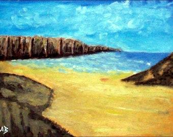 2018 # 13_Küstenlandschaft, pastel painting, sea, Cliff, Cliff, beach, pastel painting, pastel picture