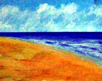 2019 15_Strandlandschaft, Seascape, Mixed Media Painting, Beach, Sand, Waves, Sky, Clouds, Landscape, Pastel Painting