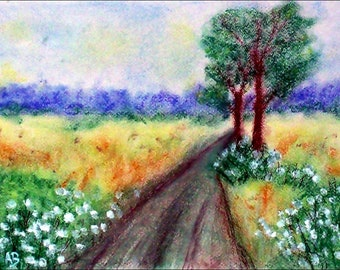 2018 # 36 _ Trees on the way, pastel paintings, forest, fields, trees, dirt track, flowers, nature, landscape, pastel painting, pastel painting