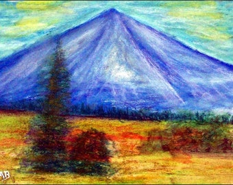 2018 # 16_Berglandschaft, oil pastel painting, mountain, trees, forest, fir, spruce, meadow, bushes, flowers, Ölpastellmalerei, landscape