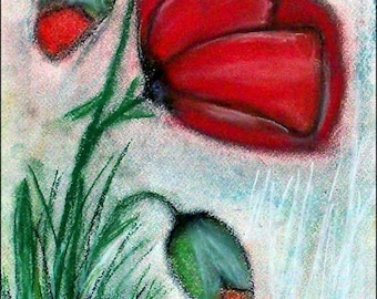 2018 # 12_Stillleben with poppy flowers, pastel painting, flowers, poppies, blossoms, buds, pastel painting, pastel picture