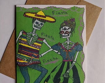 Skeleton Greeting Card Day of the Dead Happy Fiesta Celebration Party Dance Mexican Folk Art