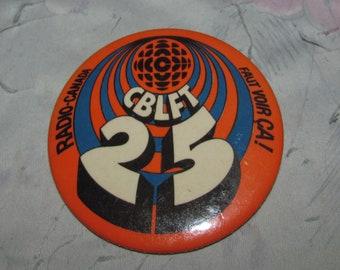 7ed5995fe28 Vintage CBLFT Radio Canada CBC Radio - Orange - Retro Canadiana Souvenir  Pin Brooch Button
