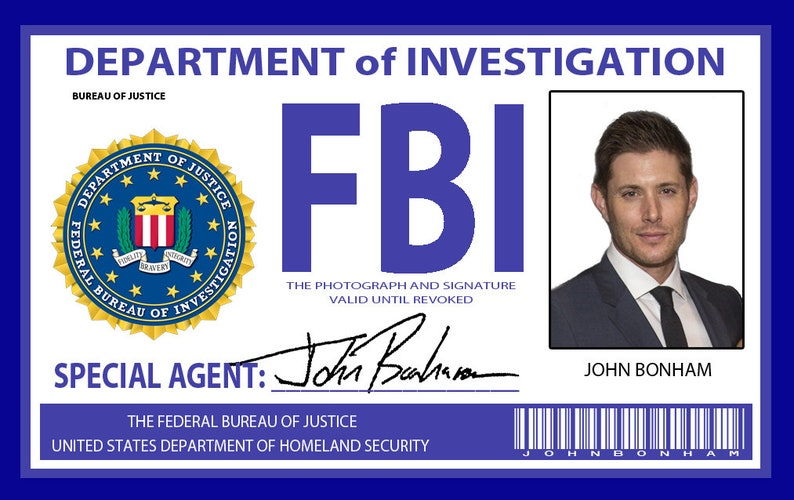 Supernatural FBI Badge John Bonham AKA Dean | Etsy
