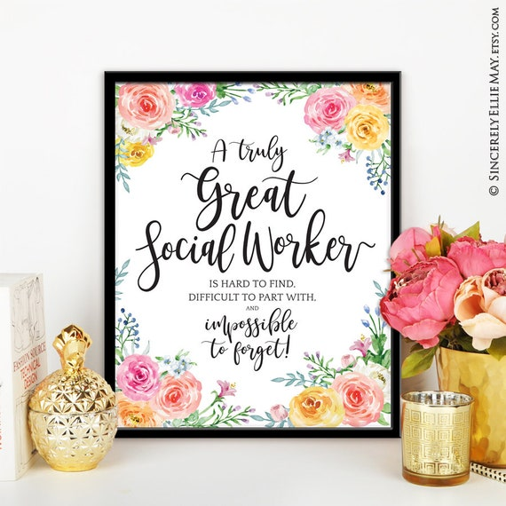 Social Work Quotes Sayings: Social Worker Appreciation Quote Gift Wall Art Printable