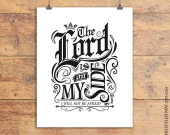Inspirational Verse Wall Art - Psalm 110 Vintage Style Printable perfect as gift for Christian Family, Friend, or as Home Decor 40008
