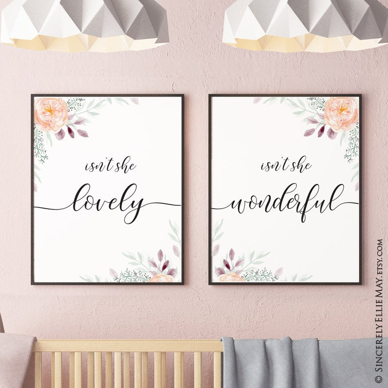 d8dc4df834f16 Baby Girl Nursery Art Isn't She Lovely - Wall Decor Sign YOU PRINT, give as  Baby Shower Gift or hang in Bedroom 40361