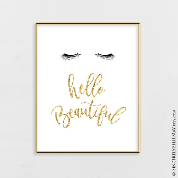 """beauty women salon /""""hello beautiful/"""" lashes print wall art"""
