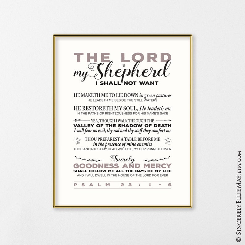 photo about Psalm 23 Printable known as Psalm 23 Printable Christian Wall Artwork Indication - Yourself PRINT Scripture Typography Artwork, Good as Poster Reward, fantastic as Household Decor 40325