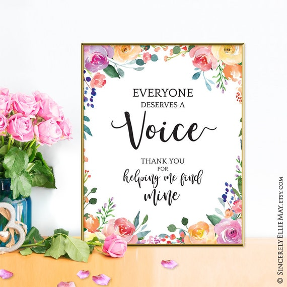 Speech Pathology Gift Quote Printable, Everyone Deserves A Voice - great as  Appreciation or Thank You Gift for Speech Pathologist 40260