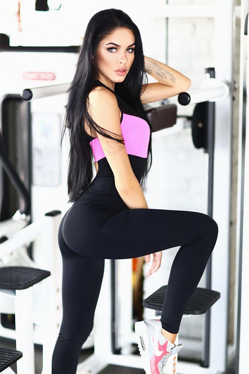 402d72138cd8 Perfect Pink Fitness Jumpsuit Clothes Women catsuit Dancer