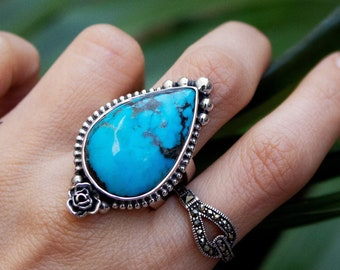 sister gifts for her Indian jewelry multi gemstone ring turquoise rings Turquoise ring birthstone rings silver ring vintage jewelry