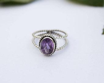 Amethyst Ring, Amethyst Gemstone Sterling Silver Ring, Rope Band Ring, February Birthstone, Purple Stone Ring, Amethyst Jewelry,Promise Ring
