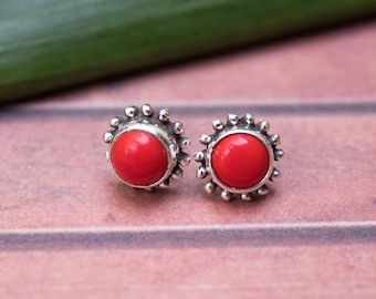 Red Coral Stud Earrings, Sterling Silver Studs, Coral Studs, Natural Coral Gemstone Stud Earrings, Coral Jewelry